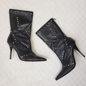 BAKERS Black Leather Star Studded Stiletto Boots